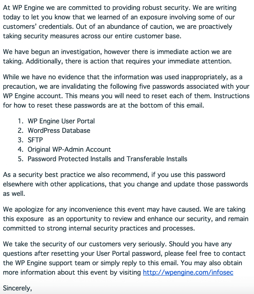 WPEngine breach email