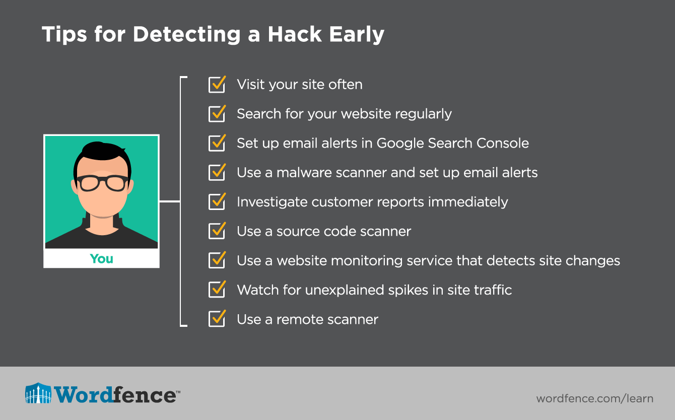 Tips for detecting a hacked website early