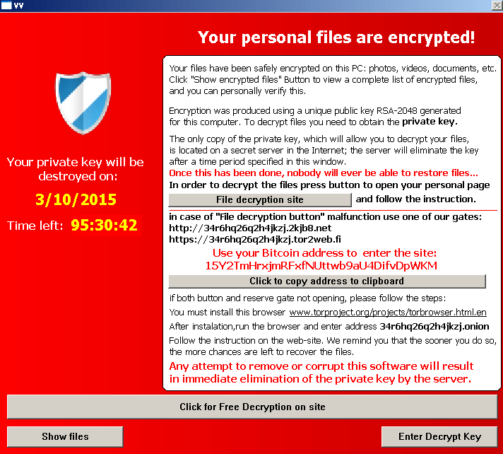 A screenshot of the screen that TeslaCrypt displays when your files are encrypted. Courtesy Bromium Labs.
