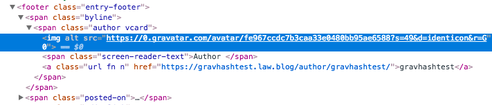 Gravatar in HTML source