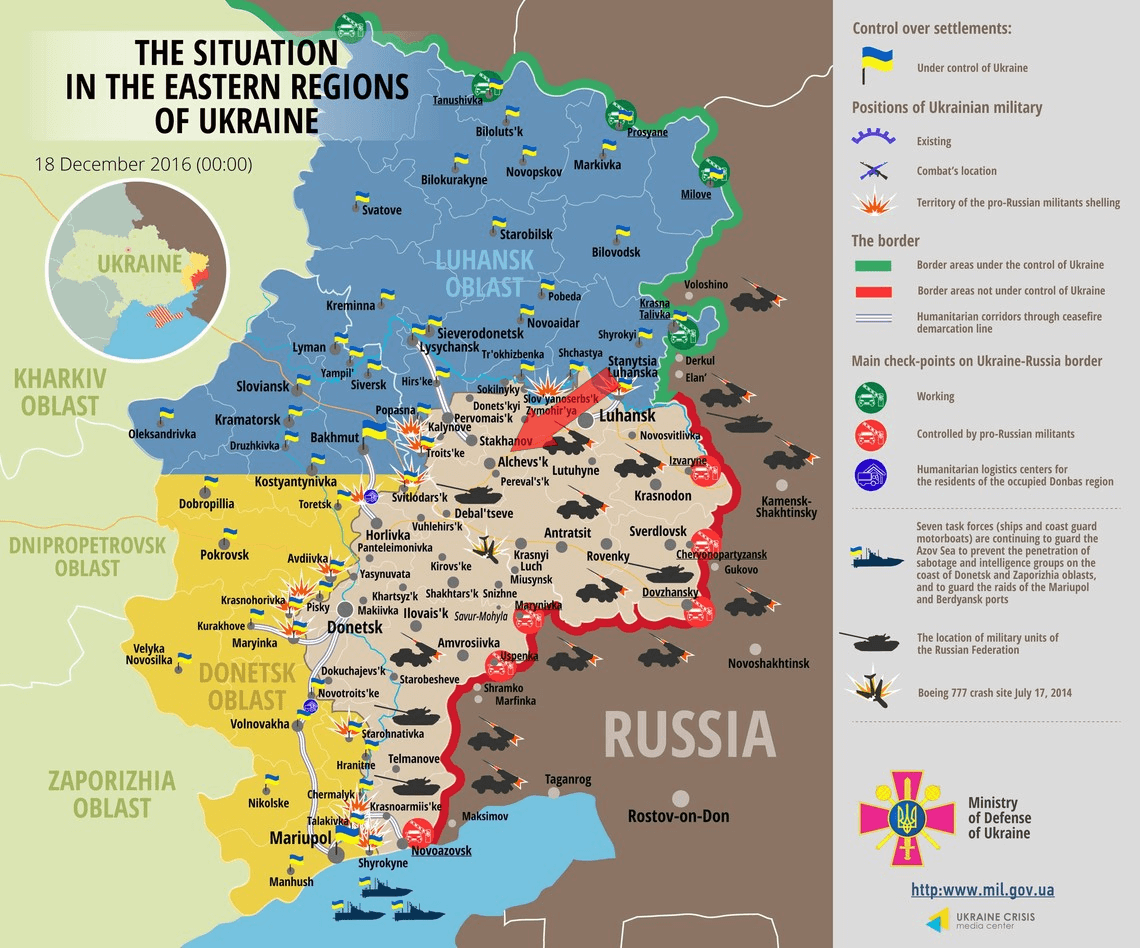 Ukrainian Occupation Map Late December 2016