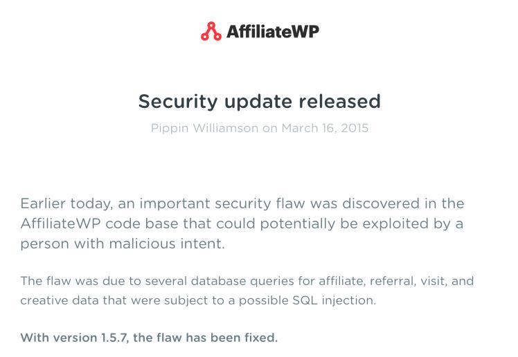 Wordpress Hack aus 2016 - Ankündigung AffiliateWP