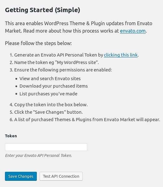 Screenshot of the Envato Market plugin's API setup process.