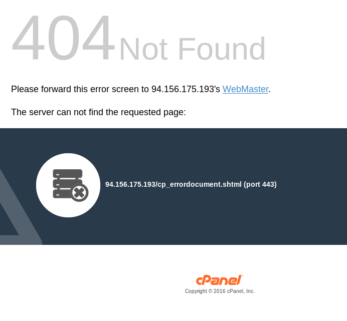 A cPanel-generated 404 page from 94.156.175.193, linking the server to the email x1ngbox@gmail.com.