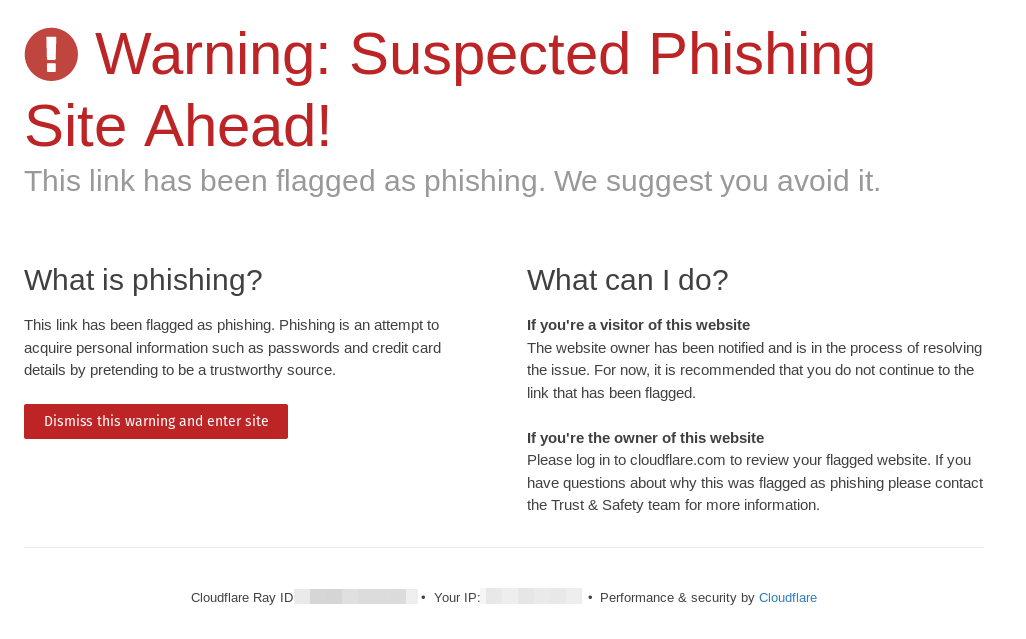 A phishing warning page from Cloudflare.
