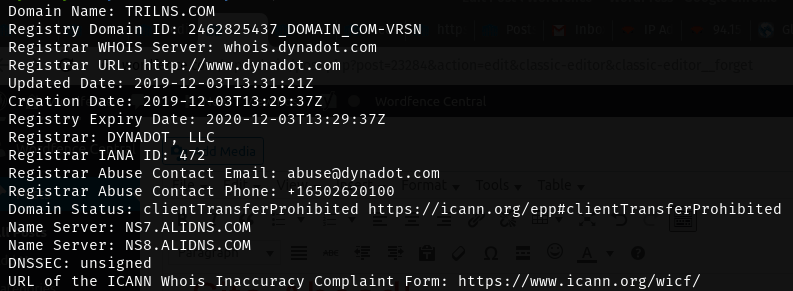 WHOIS results for C2 domain trilns.com, showing ALIDNS.COM nameservers.