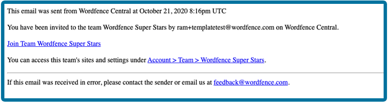 Wordfence Central Teams invitation email