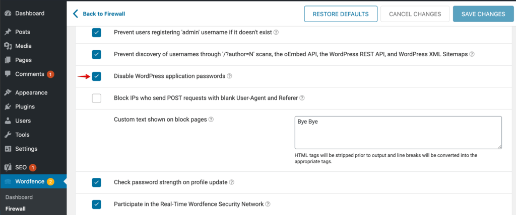 Wordfence settings to Disable Application Passwords