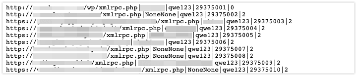 A redacted list of domains to target including username NoneNone and password qwe123